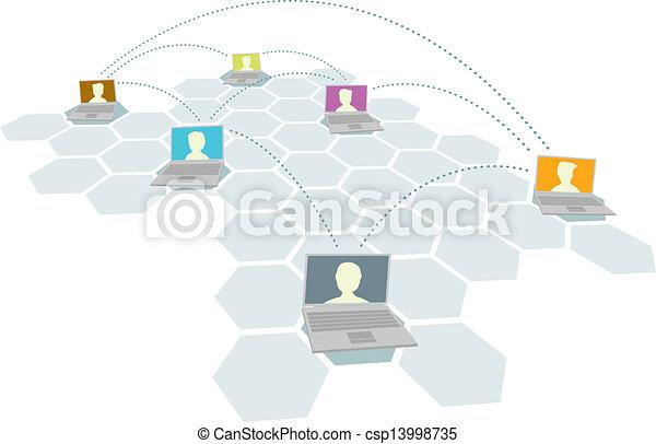 múltiplo, usuários, pessoas, /, rede computador - csp13998735