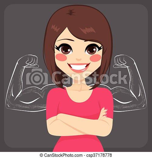Una mujer fuerte y musculosa - csp37178778
