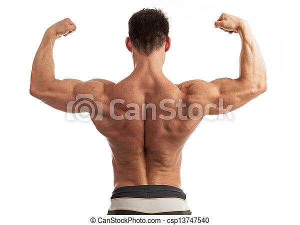 Músculos, joven, espalda, el suyo, doblar, brazo, hombre. El suyo ...