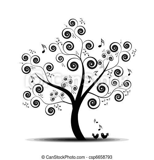 música, árvore - csp6658793