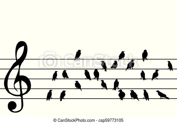 música, abstratos, aduela, pássaros - csp59773105