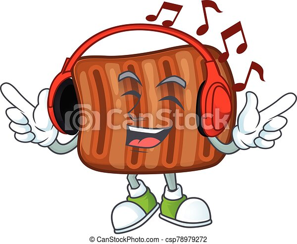 música, carne de vaca, mascota, el gozar, caricatura, diseño, asado - csp78979272