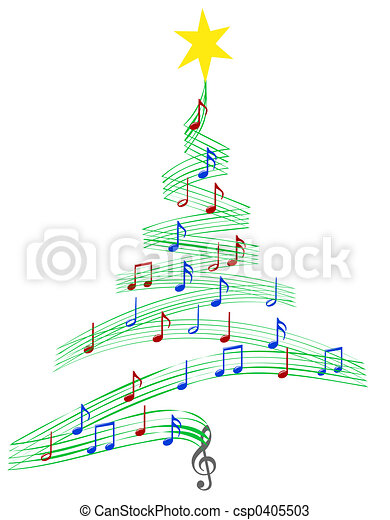 música, carol, árvore, natal - csp0405503