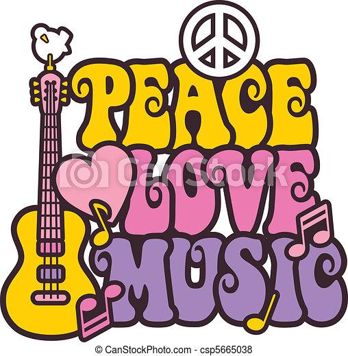La paz ama la música en colores brillantes - csp5665038