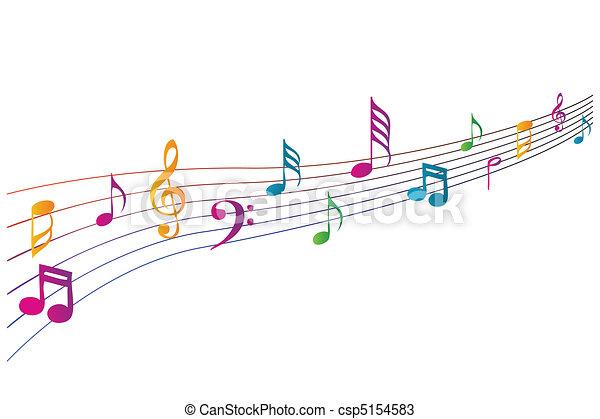 música, coloridos, ícones - csp5154583