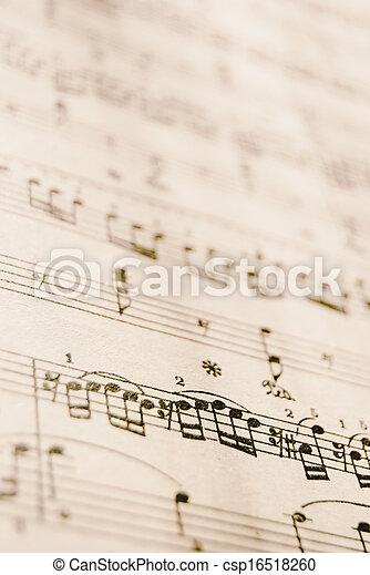 música, folha, vindima - csp16518260