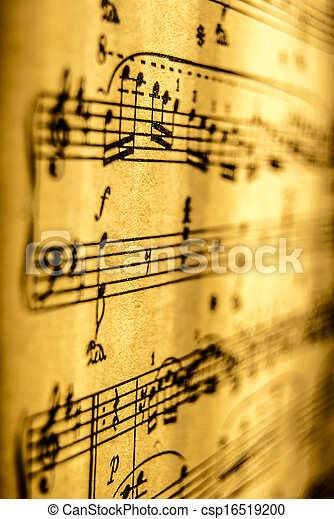 música, folha, vindima - csp16519200