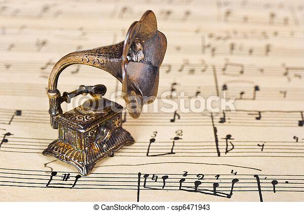 música, gramophone, antigas, folha - csp6471943