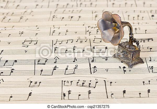 música, gramophone, antigas, folha - csp21357275