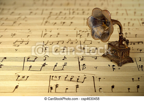 música, gramophone, antigas, folha - csp4630458