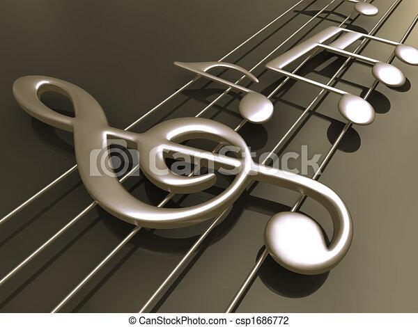 música hoja, 3d - csp1686772