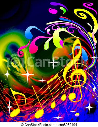 música, ilustração, ondas - csp8082494