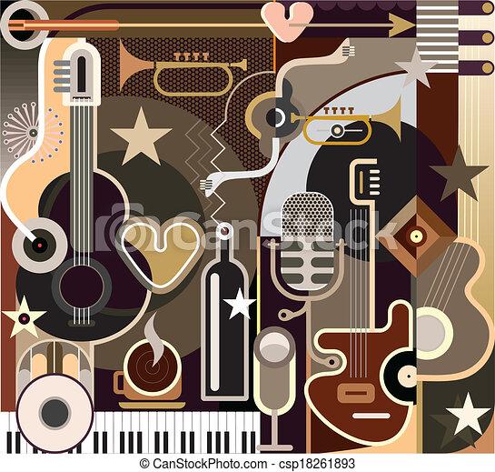 Música abstracta, ilustración vectorial - csp18261893