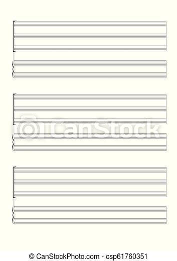 Una partitura en blanco para la anotación de una voz o instrumentos en solitario vector de partitura en blanco - csp61760351