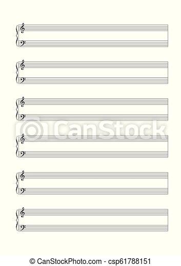 Una partitura en blanco para la anotación de una voz o instrumentos en solitario vector de partitura en blanco - csp61788151