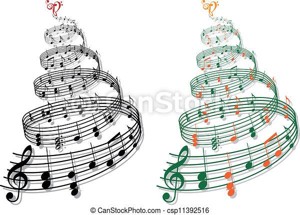 música, vetorial, árvore, notas - csp11392516