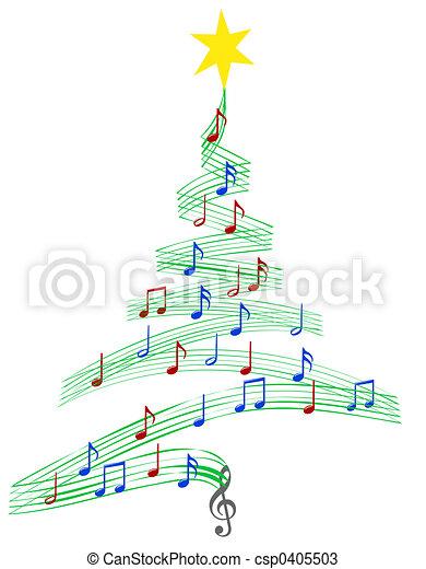 música, villancico, árbol, navidad - csp0405503