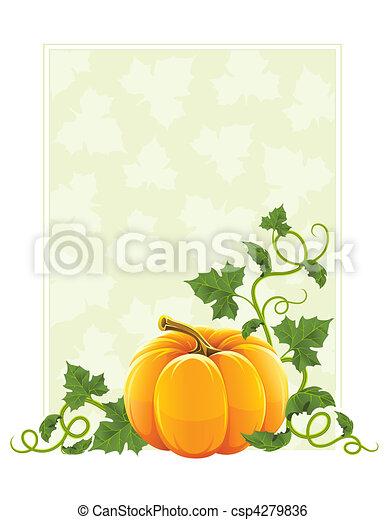 mûre, feuilles, orange, légume vert, citrouille - csp4279836