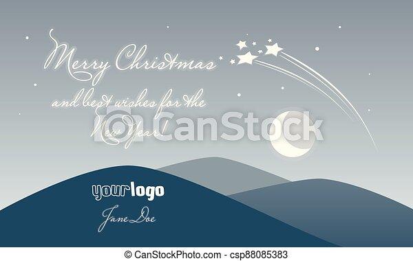 měsíc, text, večer, čerstvý, vánoce, rok, přá si, zlatý hřeb, krajina, veselý, kometa, karta - csp88085383