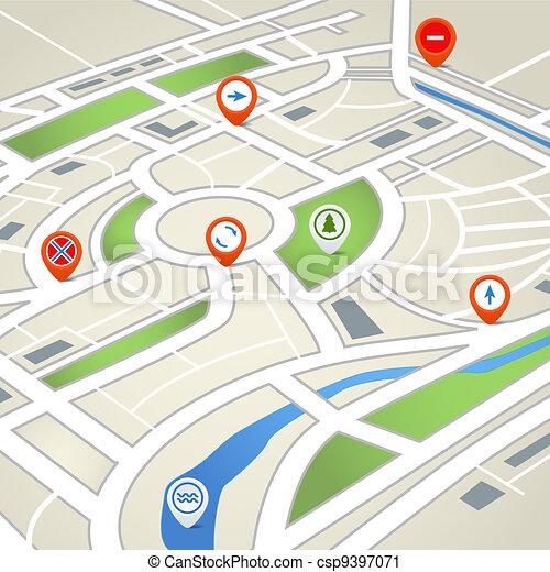 město, abstraktní, mapa - csp9397071