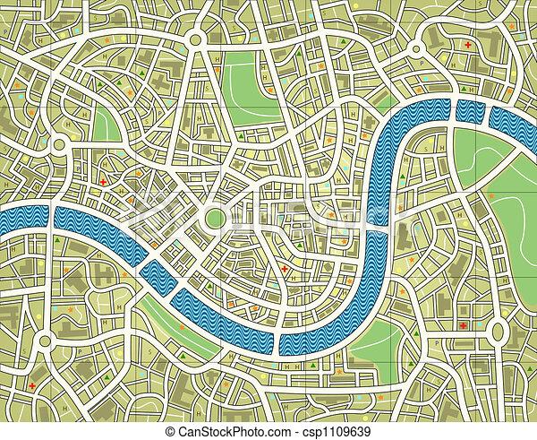 město, bezejmenný, mapa - csp1109639