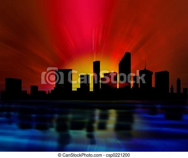 městská silueta, večer - csp0221200
