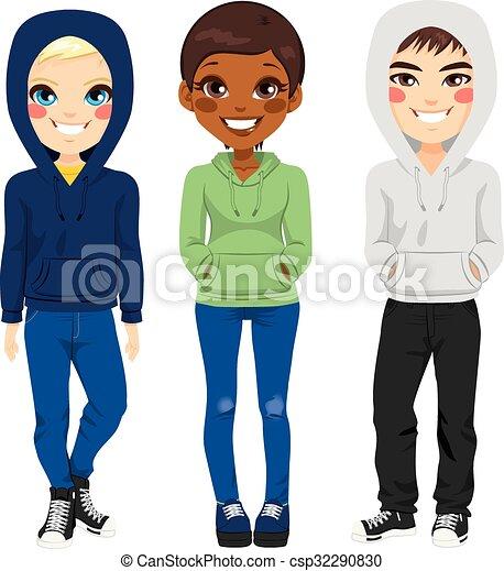 młodzi wyrostki, przypadkowe ubranie - csp32290830