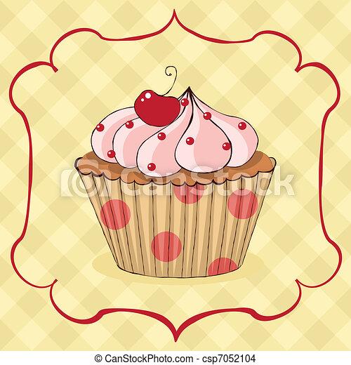 Mnam Mnam Cupcake Mnam Mnam Card Sketchy Souhrnny Eps