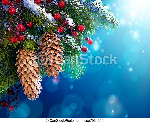művészet, fa, karácsony, havas - csp7984040