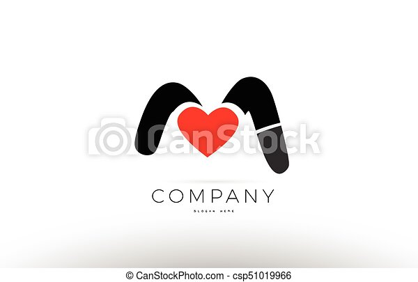 M Alphabet Letter Logo Icon With Love Heart Symbol Company Design