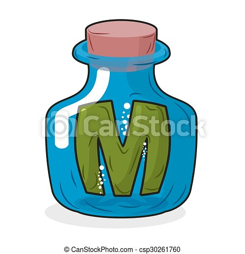 m in bottle green letter in blue glass jar magic potion clip rh canstockphoto com