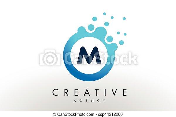 M Letter Logo Blue Dots Bubble Design Vector M Dots Letter Logo