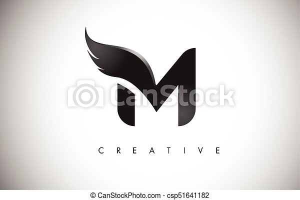 M Letter Wings Logo Design With Black Bird Fly Wing Icon