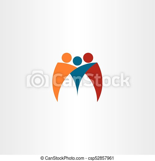 M Logo Business People Team Friends Logotype Vector Icon