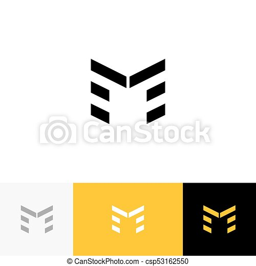 M Vector Logo Icon Symbol Sign From Letters Flat Logotype Design With Yellow Color For Company Or Brand