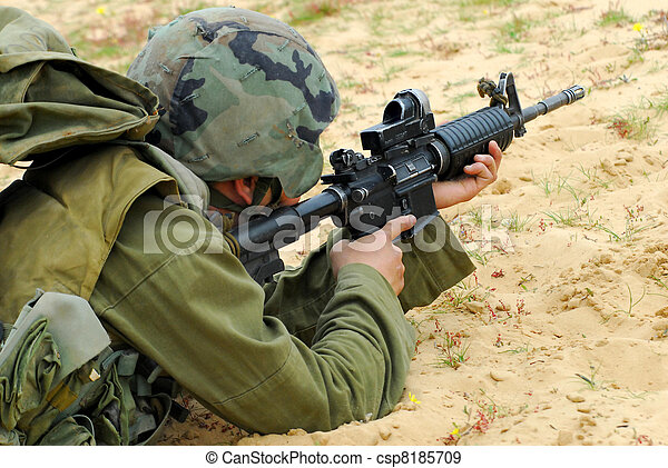 M16 Israel Army Rifle Soldier - csp8185709