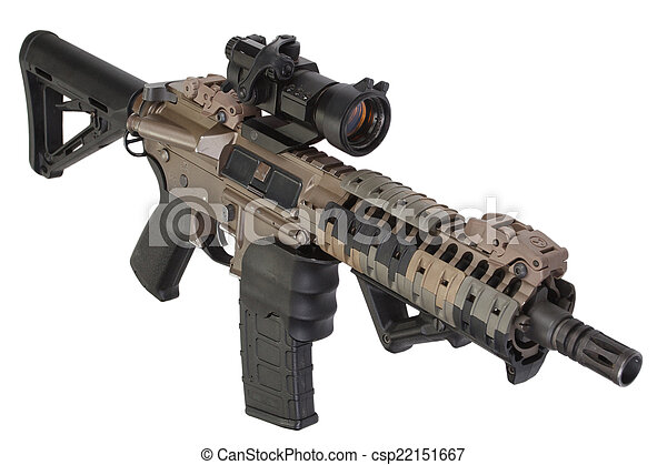 M4 special forces rifle isolated on a white background.