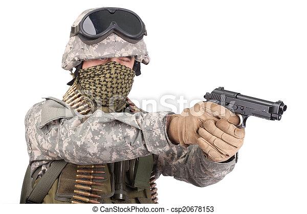 m92, bennünket, katona, háttér, fehér, kézifegyver - csp20678153