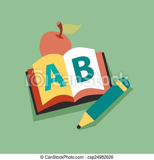 maçã, personagem, livro, sorrindo, leitura, professor - csp24982626