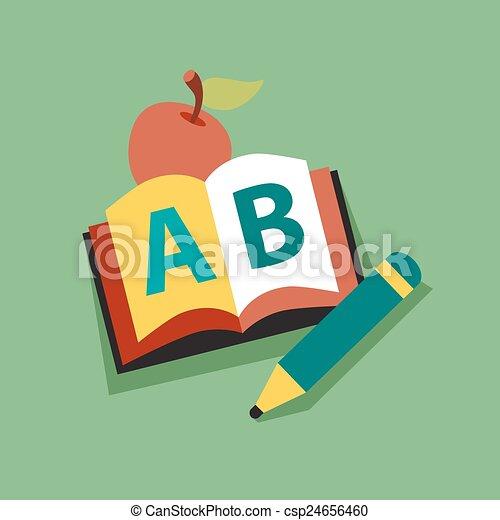 maçã, personagem, livro, sorrindo, leitura, professor - csp24656460