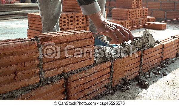 Maçon, Mur, Ouvrier, Installation, Extérieur, Brique, Maçonnerie    Csp45525573