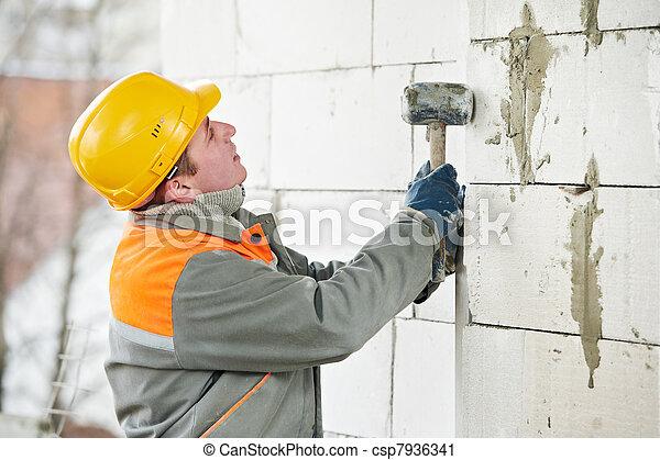 maçon, ouvrier construction, maçon - csp7936341