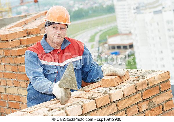 maçon, ouvrier construction, maçon - csp16912980