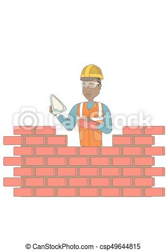 maçon, spatule, jeune, fonctionnement, brick. - csp49644815
