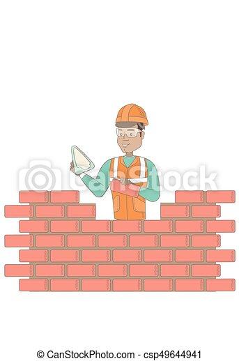 maçon, spatule, jeune, fonctionnement, brick. - csp49644941
