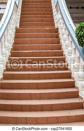maçonnerie, grille, étapes, blanc, entre - csp27041600