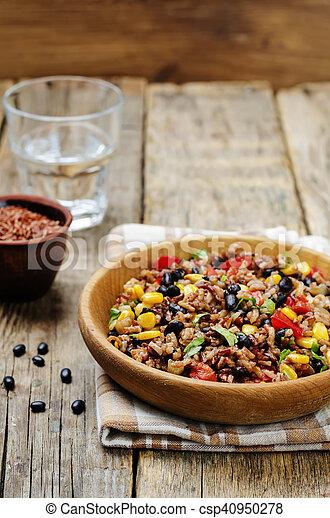 arroz blanco con frijoles negro