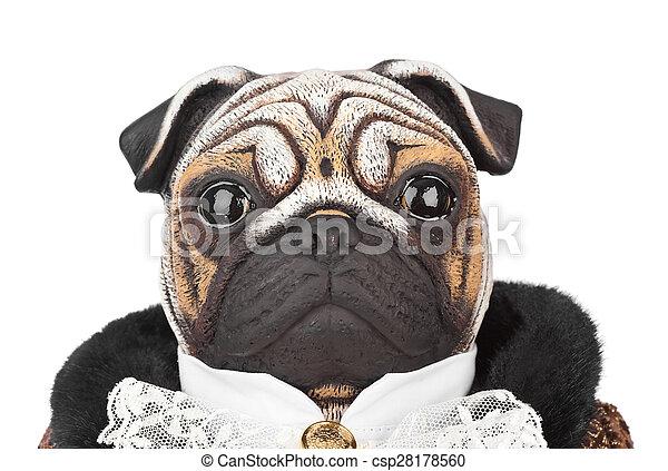 maître d'hôtel, chien jouet, carlin, déguisement - csp28178560
