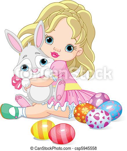 mała dziewczyna, królik, wielkanoc - csp5945558