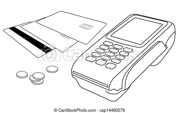 mało, monety, terminal, pos, dajcie wiarę karcięta, szkice - csp14490279
